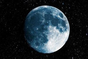 super luna azul en el fondo de la galaxia foto
