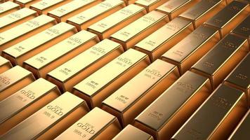 primer arreglo de barra de oro brillante en una fila. futuro de oro de negocios foto