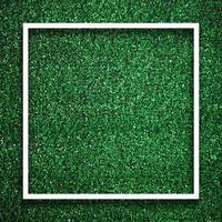Rectangle square white frame edge on green grass with shadow photo