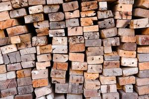 Lumber mill with full of cutting woods warehouse photo