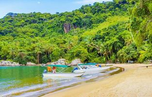Boats at Mangrove and Pouso beach, Ilha Grande, Rio de Janeiro, Brazil photo
