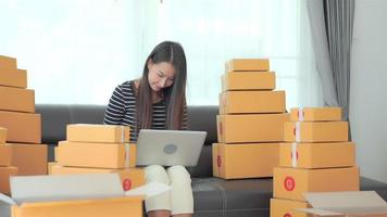Woman with packing box ready for shipping video