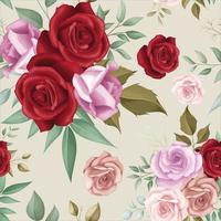 Elegant floral seamless pattern with romantic roses vector
