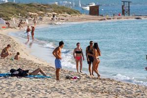 Tourists on the Illetes Beach Formentera photo