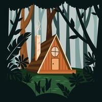 Cabin in the Middle of a Tropical Forest vector
