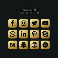 Social Media and Network Golden Logo Icon Collection vector