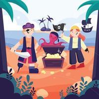Pirate Kids Treasure Hunt vector