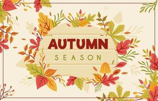 Autumn Leaves Background with Wooden Board vector