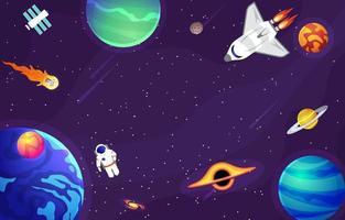 espacio exterior con planetas y fondo de astronauta. vector