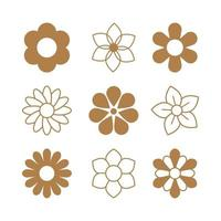 Simple Line Art of Flower Icons Collection vector