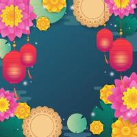 Mid Autumn Festival Background with Lotus and Mooncake vector