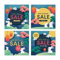 Mid Autumn Festival Sale Social Media Template vector