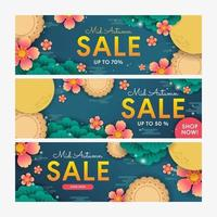 Mid Autumn Sale Banner Collection for Marketing Promotional vector