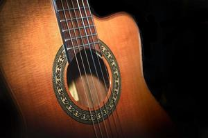 Classical guitar detail on black background photo