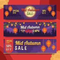 Set of Mid Autumn Sale Banner vector
