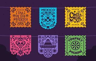 Colorful Papel Picado Icon Pack vector
