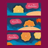 Set of Banners for Mid Autumn Festival vector
