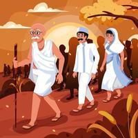 Mahatma Gandhi Followed by People vector