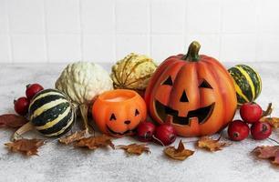 Autumn still life with Halloween pumpkins photo