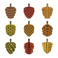 Autumn Fall Pinecones Icon Collection vector