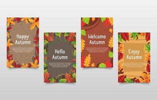 Collection of Autumn Fall Greeting Cards vector