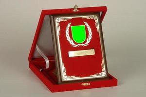varias placas de madera y metal para campeonatos y competiciones foto