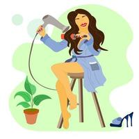 brunette in a blue bathrobe is sitting on chair and drying hair. shoes vector