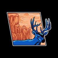 Deer with landscape vector illustration