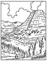 Glacier National Park in Montana USA Mono Line Poster Art vector