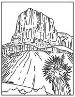 Guadalupe Mountains National Park USA Mono Line Poster Art vector