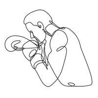 boxeador jabbing boxeo vista lateral dibujo de línea continua vector