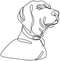 Labrador Retriever Dog Head Looking Up Continuous Line Drawing vector