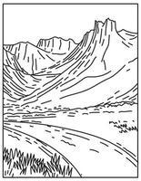 Gates of the Arctic National Park Preserve Alaska USA Mono Line Art vector