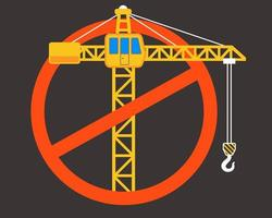 stop sign construction. crossed construction crane. vector