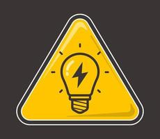 yellow light bulb with lightning inside on a colored background. vector