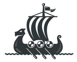 black viking ship icon with sail and oars. vector