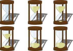 Sandglass collection with different levels of sand vector illustration