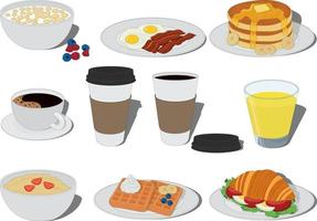 Breakfast food and drink types collection vector illustration