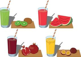 Glass of fresh fruit juice with cut fruits vector illustration