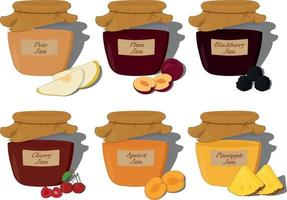 Fruit and berry jam in glass jar with inscription collection vector