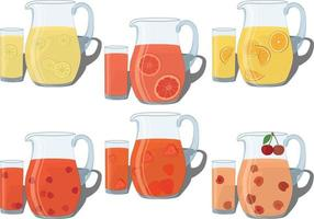 Refreshing cold summer drinks in jug and glass collection vector
