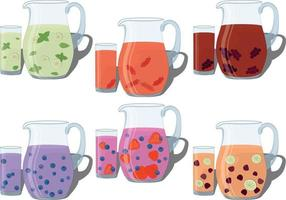 Refreshing cold summer drinks with fruit and berry in jug and glass vector