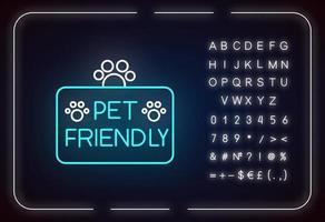Pet friendly territory neon light icon vector