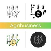 Blockchain technology in agriculture icon vector