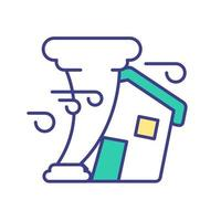 Tornado destroys house RGB color icon vector