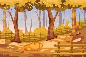 Cartoon autumn landscape background with fall pumpkins vector