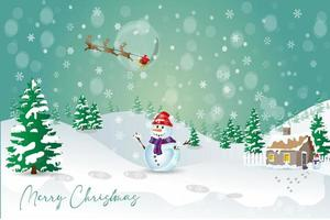 Merry Christmas greeting card with snowman design vector