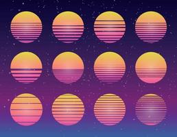 80s Synthwave vector sunset collection