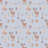 seamless pattern with wild deer, elk. Seamless pattern animal vector