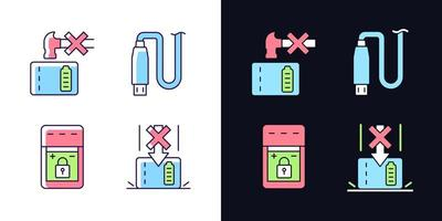 Powerbank for phone user light and dark RGB color label icons set vector